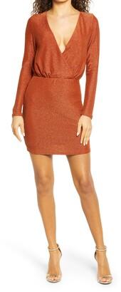 Bebe Metallic Long Sleeve Minidress