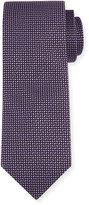 Neiman Marcus Dash-Print Silk Tie, Black/Purple