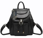 Donalworld Woen PU Leather Drawstring Backpack Girls Flap Bag School Bookbag