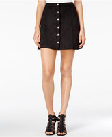 Kensie Button-Front Faux-Suede Skirt