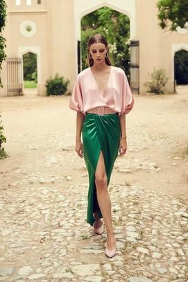 Costarellos Lulie Satin Color-Block Wrap Front Dress