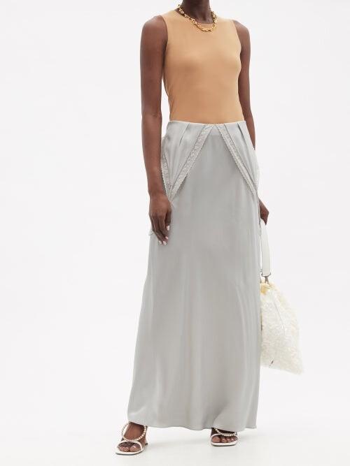 Thumbnail for your product : MM6 MAISON MARGIELA Lace-trimmed V-neck Satin Slip Dress - Light Grey