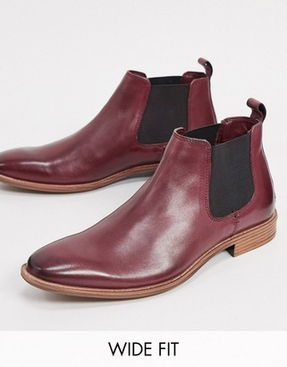 Silver Street wide fit brogue chelsea boots in burgundy