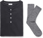 Schiesser - Karl Heinz Cotton-jersey Henley T-shirt And Stretch Cotton-blend Socks Set