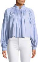 Tibi Isabelle Shirting Long-Sleeve Blouse