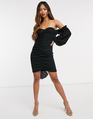 Vero Moda off-the-shoulder bodycon dress with ruched front in black