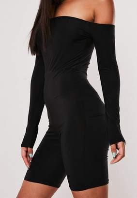 Missguided Black Long Sleeve Bardot Unitard