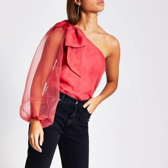 River Island Womens Pink long sleeve one shoulder organza top