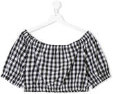 Piccola Ludo TEEN gingham check crop blouse