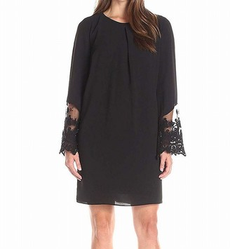 Amy Byer Women's Bell Sleeve with Lace Edge Trim Inverted Pleat