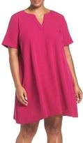 Adrianna Papell Plus Size Women's Short Sleeve Trapeze Dress