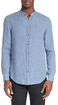 Armani Collezioni Men's Trim Fit Gingham Check Linen Shirt