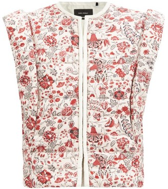 Isabel Marant Adiena Quilted Floral-print Cotton Gilet - Multi