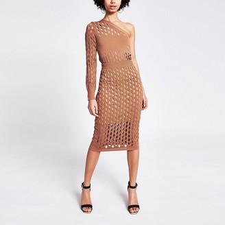 River Island Rust mesh knitted midi skirt