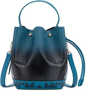 MCM Milano Logo Gradient Patent Goatskin Leather Bucket Bag