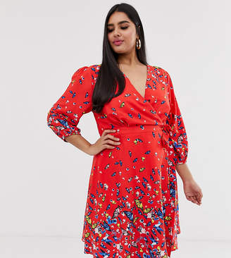 Yumi Plus wrap dress in butterfly print-Red