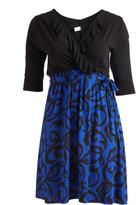 Glam Black & Royal Scroll Ruffle-Accent Wrap Dress - Plus
