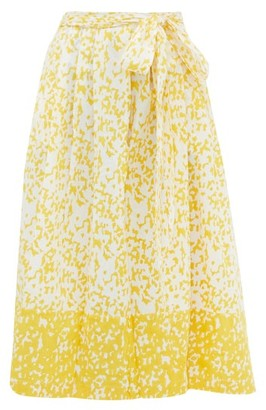 Thierry Colson Java Abstract-print Cotton Wrap Skirt - Yellow