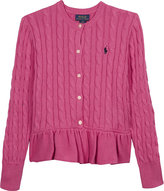 Ralph Lauren Pleated hem cable knit cotton cardigan 7-14 years
