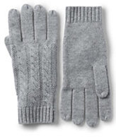 Lands' End Women's Cashmere Cable Gloves-Red Plaid