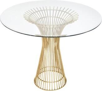 "Worlds Away Glass Top Pedestal End Table Size: 29"" H x 30"" L x 30"" W"