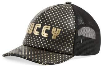 Gucci Print Leather Trucker Cap