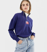 Daisy Street relaxed sweatshirt with half zip and flag embroidery