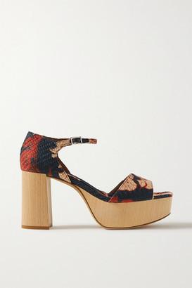 Tabitha Simmons + Johanna Ortiz Patton Floral-print Raffia Platform Sandals - Midnight blue