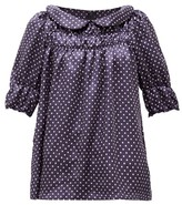 Comme des Garcons Peter Pan-collar Polka-dot Satin-twill Blouse - Womens - Navy