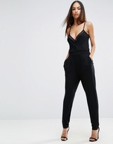 Asos Jersey Cami Wrap Jumpsuit With Mesh Insert Detail