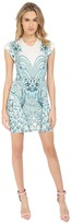 Just Cavalli Fitted Printed Jersey Short Sleeve Dress Peacock Print