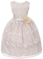 Kids Dream Little Girls Ivory Champagne Lace Flower Special Occasion Dress