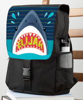 Personalized Planet Backpacks Blue - Black & Blue Shark Personalized Flap Backpack