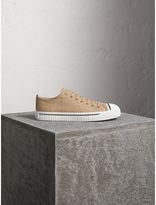Burberry Topstitched Cotton Gabardine Trainers