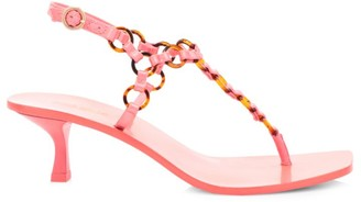 Cult Gaia Caitlyn Ring-Embellished Leather Thong Sandals