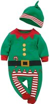 Comemall Baby Christmas Presents Clothes Cotton Long Sleeve Jumpsuit Set+Hat