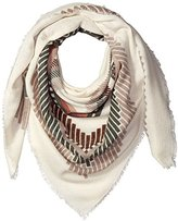 Pure Style Girlfriends Women's Geometric Pattern Oversize Square Wrap with Fringe Edg