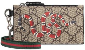 Gucci Kingsnake print GG Supreme card case