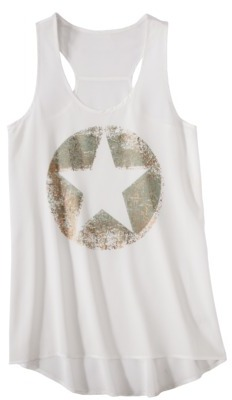 Juniors Star High Low Graphic Tank - Ivory