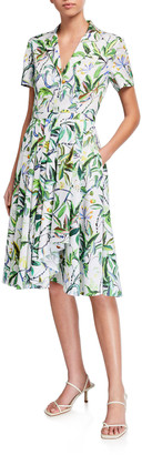 Jason Wu Collection Leaf Print Short-Sleeve Shirtdress