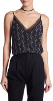 The Kooples Printed Lace Trim Silk Camisole