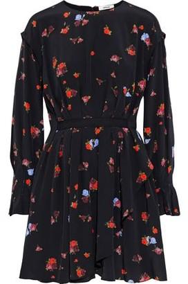 Jason Wu Pleated Floral-print Silk Crepe De Chine Mini Dress