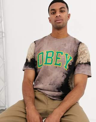 Obey Academic tye dye t-shirt with chest logo in black