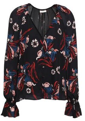 Joie Boyana Floral-print Silk-crepe Blouse