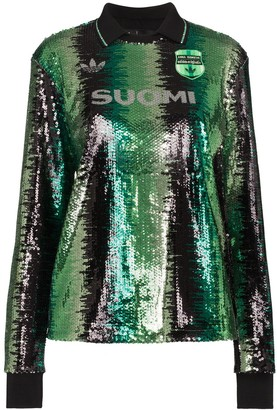 adidas x Anna Isoniemi sequin striped top