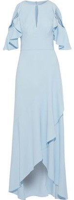 ML Monique Lhuillier Cold-shoulder Ruffled Crepe Gown