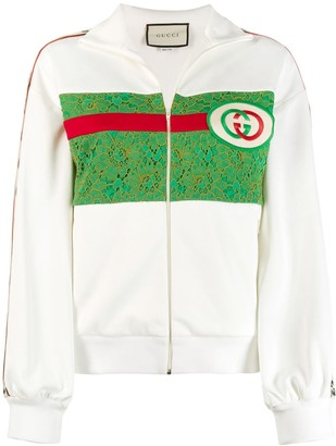 Gucci Lace Panel Logo Track Jacket