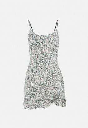 Missguided Floral Ruffle Hem A Line Mini Dress