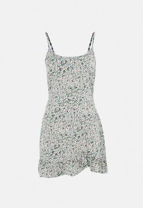 Missguided Sage Floral Ruffle Hem A Line Mini Dress