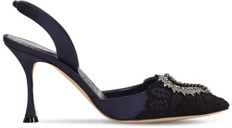 Manolo Blahnik 70mm Gerosa Lace & Satin Sling Back Pump